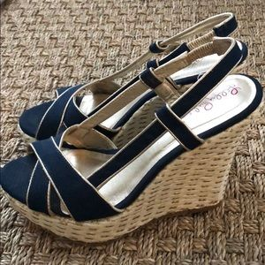 Lilly Pulitzer 8 Navy Gold Espadrilles WORN ONCE!